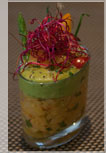 Vinaigrette of red lentils, avocado and spicy shrimps.